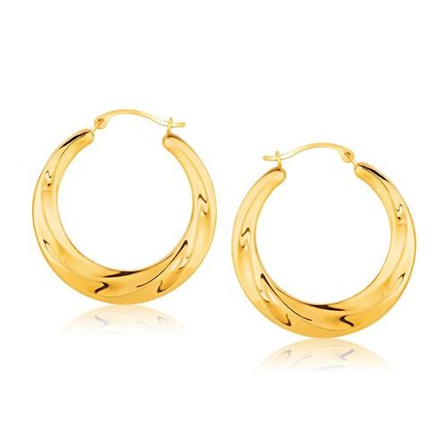 14k Yellow Gold Graduated Textured Hoop Earrings (1 inch Diameter)