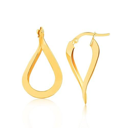 14k Yellow Gold Flat Polished Twisted Hoop Earrings