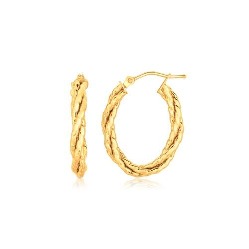 14k Yellow Gold Twisted Tube Oval Hoop Earrings
