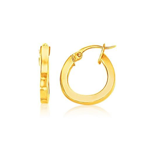 14k Yellow Gold Flat Side Small Hoop Earrings