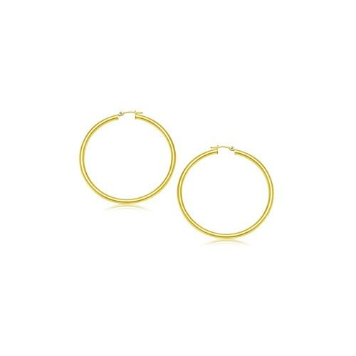 14k Yellow Gold Polished Hoop Earrings (15 mm)
