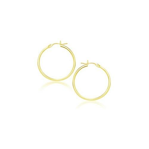 14k Yellow Gold Polished Hoop Earrings (20 mm)
