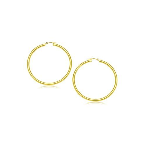 14k Yellow Gold Polished Hoop Earrings (2- mm)