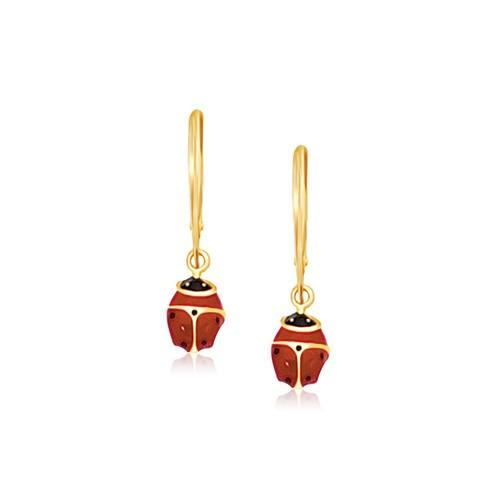 14k Yellow Gold Petite Enamel Lady Bug Drop Earrings