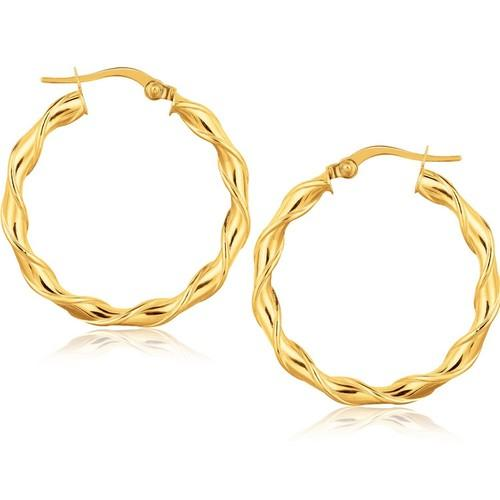14k Yellow Gold Hoop Earrings (1 1/8 inch)