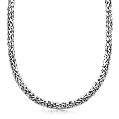 Oxidized Sterling Silver Wheat Style Chain Men's Necklace, size 18''