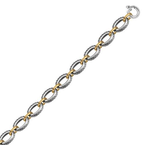 18k Yellow Gold and Sterling Silver Chain Necklace in a Cable Motif, size 18''