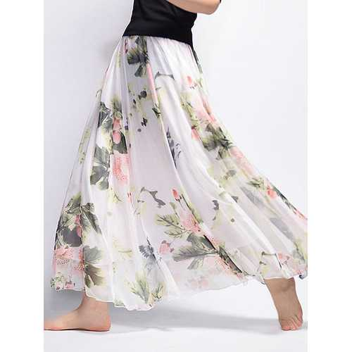 Chiffon Floral Maxi Skirt For Women