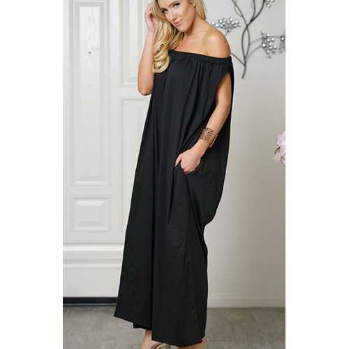 Uhnice Women Cotton  off Shoulder Jumpsuit Black