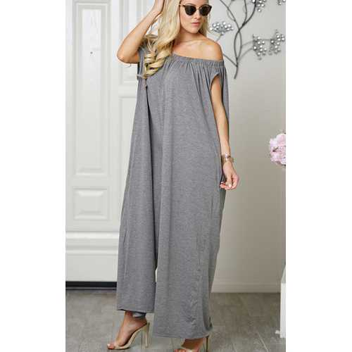 Uhnice Women Cotton  off Shoulder Jumpsuit  Grey