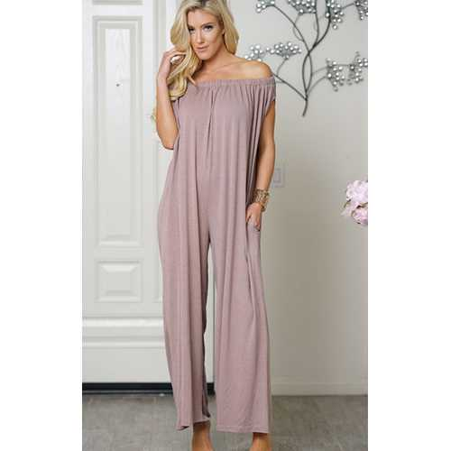 Uhnice Women Cotton  off Shoulder Jumpsuit Brown