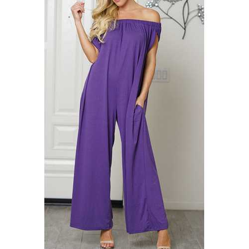 Uhnice Women Cotton  off Shoulder Jumpsuit Purple