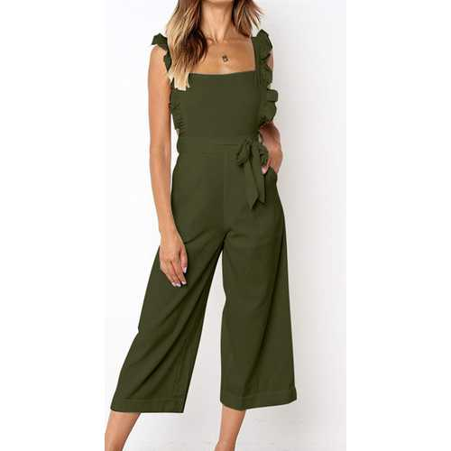 Solid Army Green Bowknot Women's Loose Pantsuit