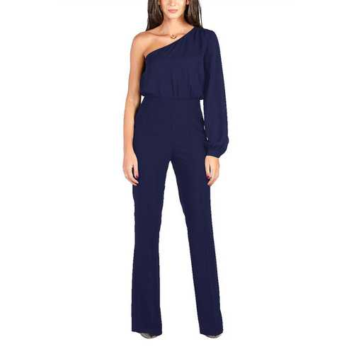 Royalblue Sexy One Shoulder Long Sleeve Wide Leg Jumpsuit