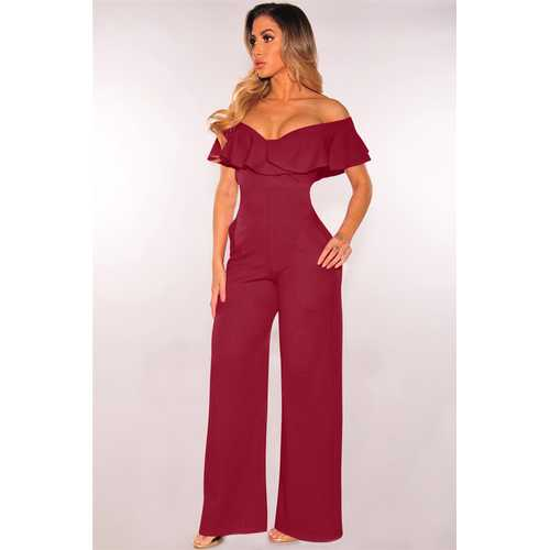 Flouncing Neck Wide Leg Sexy Jumpsuit