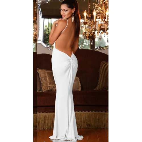 White Party Sexy Strap Deep V-Neck Backless Evening Dress