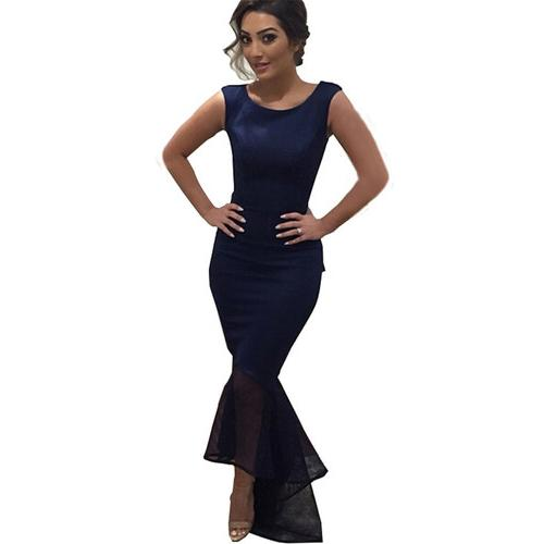 Dark Blue Tulle Sleeveless Irregular Hem Fishtail Party Evening Dress