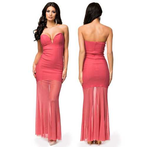 Pink Sweetheart Sheer Fishtail Maxi Evening Dress