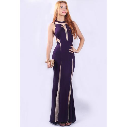 Graceful Sleeveless Party Long Evening Dress Purple
