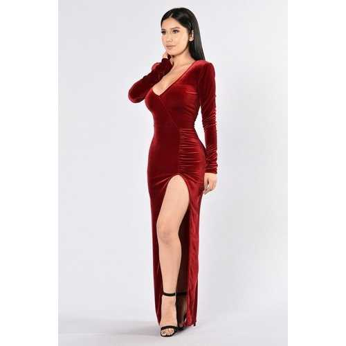 2017 Fashion Girl Deep V Neck Split Bodycon Dress Red