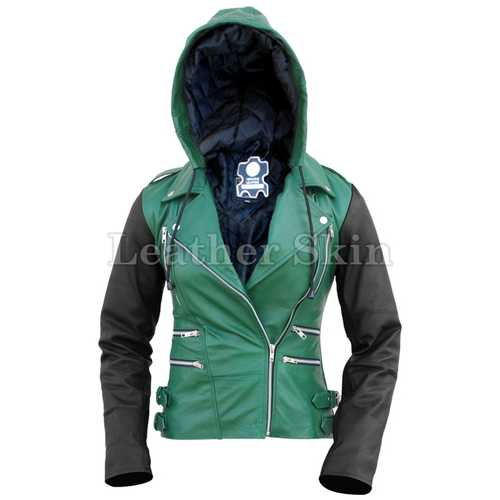 Women Hood Green Leather Jacket