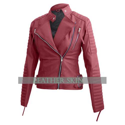 Pink Women Faux Leather Jacket