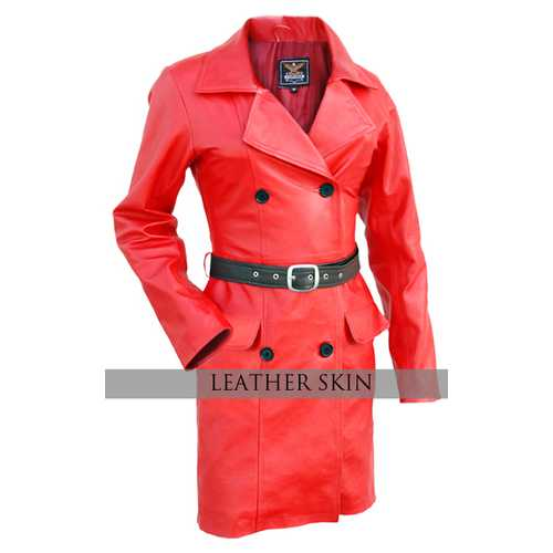 Red Women Leather Jacket