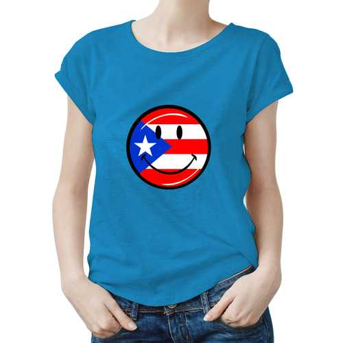 Puerto Rico Smiley Face Women Tee-Sizes: S-XXL