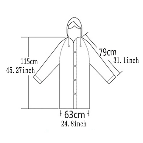 Size of the raincoat