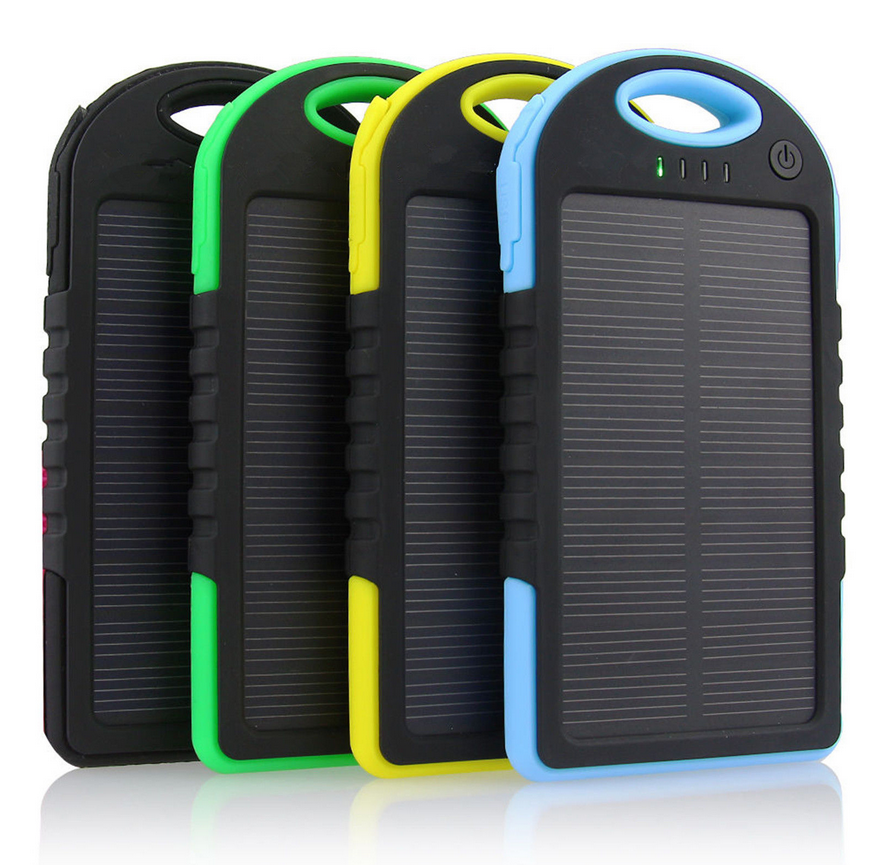 4 colors of the solar power banks. black green yellow blue