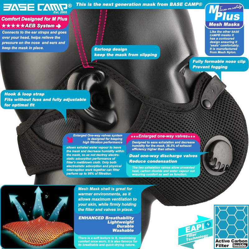 BASE CAMP® M Plus Dust Face Mask with Extra Activated Carbon Filters