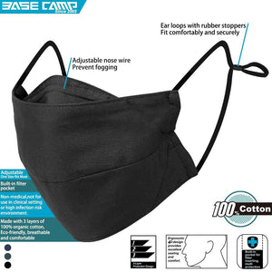 BASE CAMP® C14 Cloth Face Mask 100% Cotton with Filter Pocket