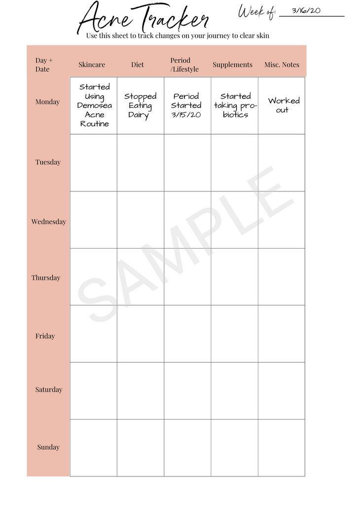 {CLEAR SKIN} ACNE TREATMENT PLANNER DIGITAL DOWNLOAD