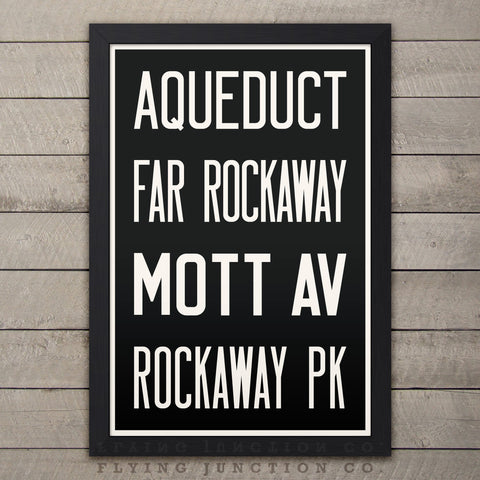 "QUEENS (Aqueduct / Rockaway) New York Subway Roll Sign Print - 12"" x 18"""