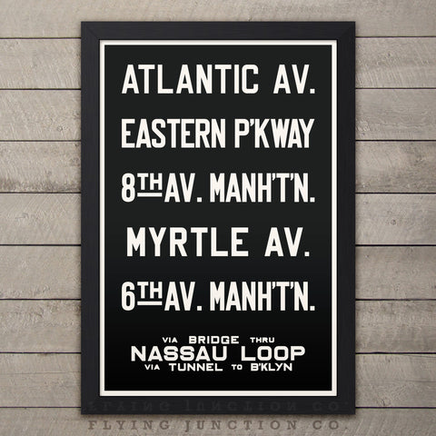 "Brooklyn & Manhattan (Nassau Loop) New York Subway Roll Sign Print - 12"" x 18"""