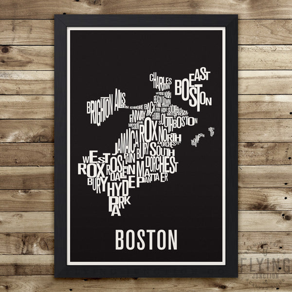 Boston Neighborhood Typography Map - Black