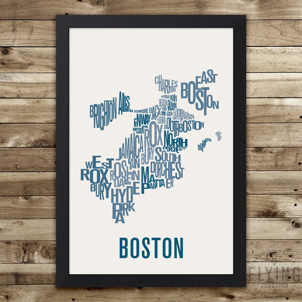 Boston Neighborhood Typography Map - Red