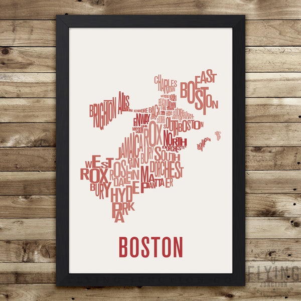 Boston Neighborhood Typography Map - Blue