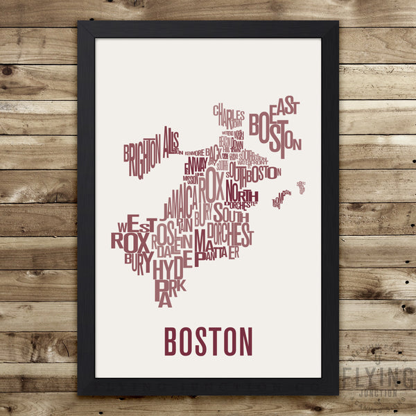 Boston Neighborhood Typography Map - Green