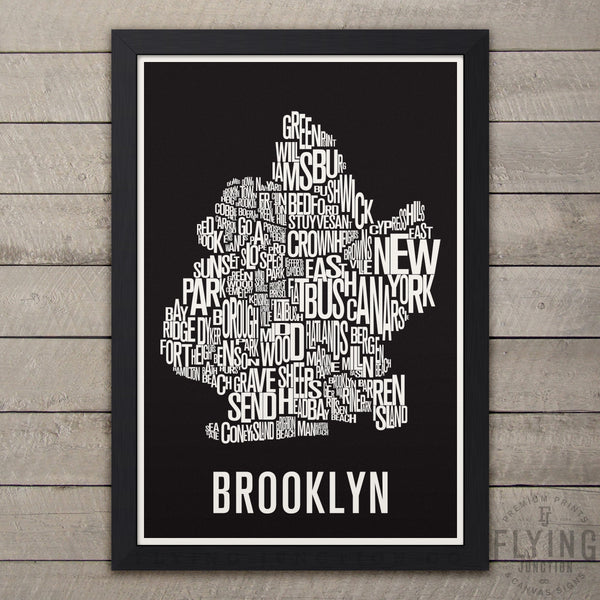 Brooklyn Neighborhood Typography Map - Black
