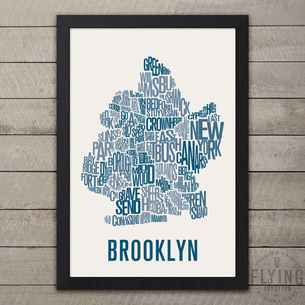 Brooklyn Neighborhood Typography Map - Grey
