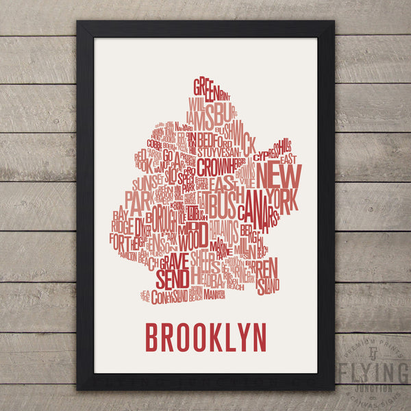 Brooklyn Neighborhood Typography Map - Burnt Orange