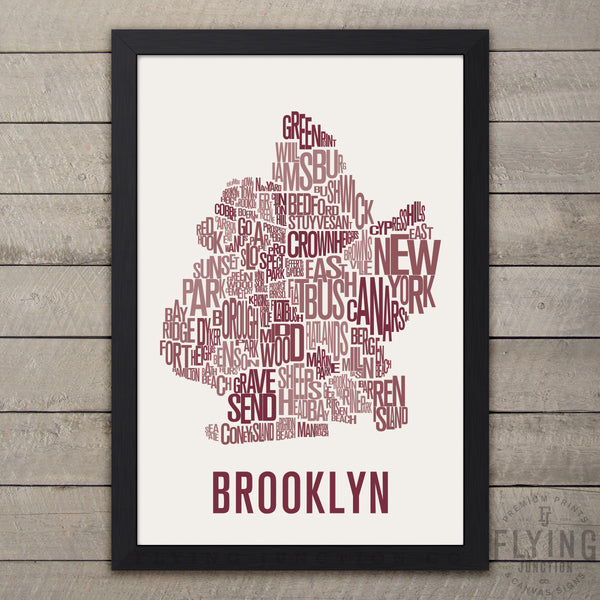 Brooklyn Neighborhood Typography Map - Navy