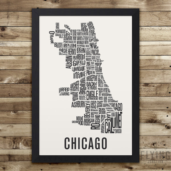 Chicago Neighborhood Typography Map - White