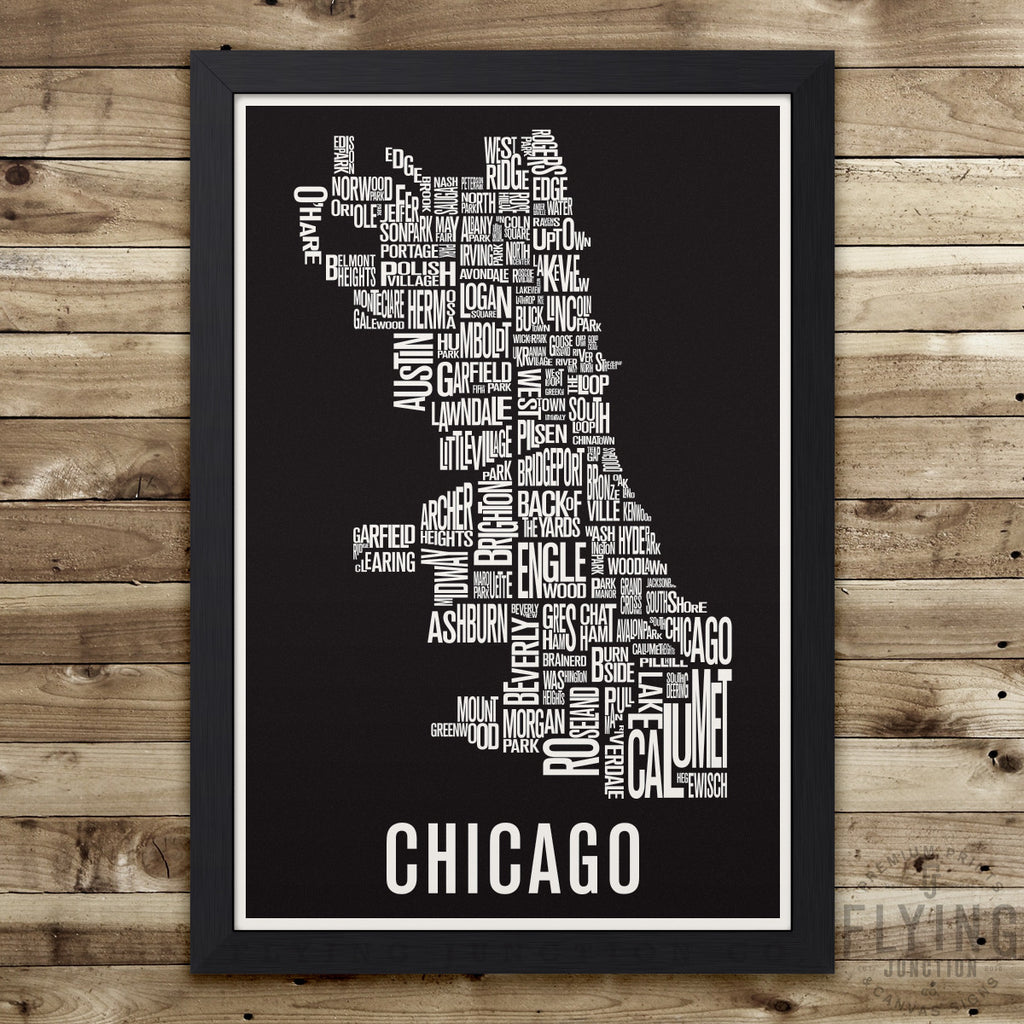 Chicago Neighborhod Typography City Map Print  Flying Junction Co - Chicago map etsy