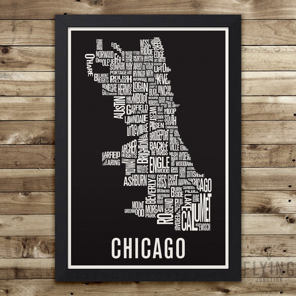 Chicago Neighborhood Typography Map - Black