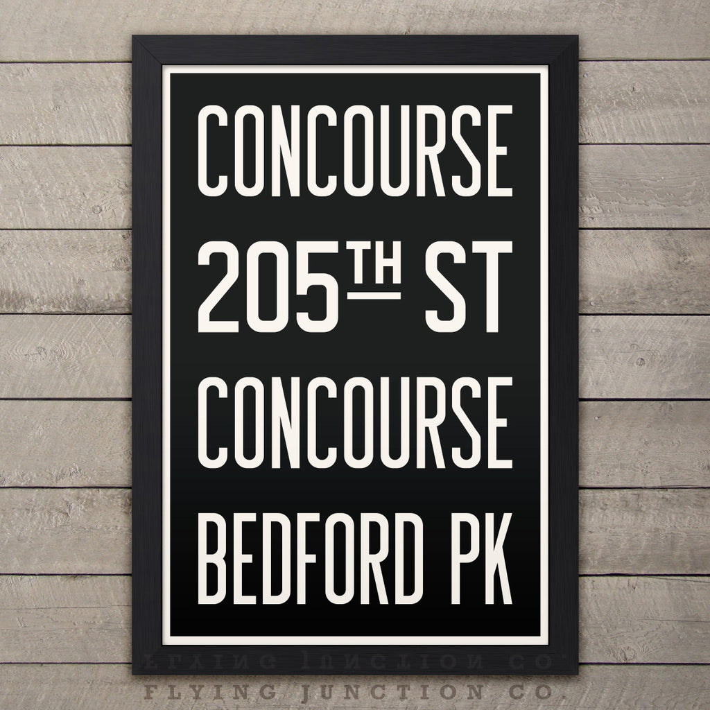 "Brooklyn (Concourse / Bedford) New York Subway Roll Sign Print - 12"" x 18"""