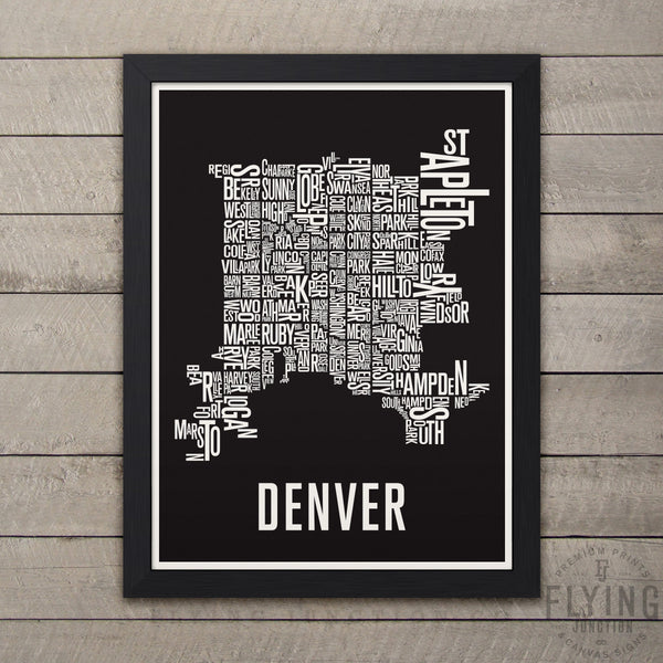 Denver Neighborhood Typography Map - Black