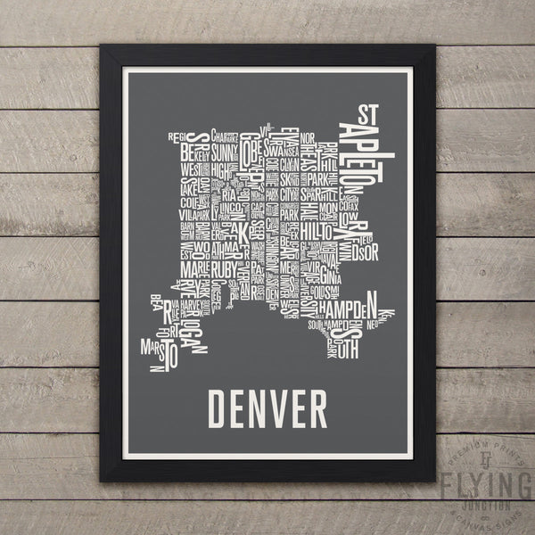 Denver Neighborhood Typography Map - Grey