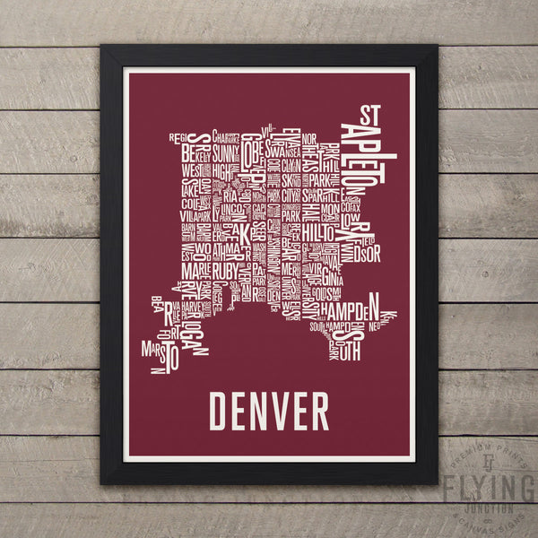 Denver Neighborhood Typography Map - Burgundy